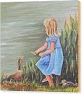 Tori And Her Ducks Wood Print