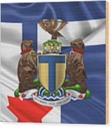 Toronto - Coat Of Arms Over City Of Toronto Flag  Wood Print