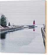 town of Charlevoix and South Pier Lighthouse on lake michigan Wood Print