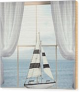 Toy Boat In Window Wood Print