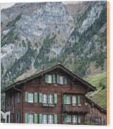 Traditional Swiss Alps Houses In Vals Village Alpine Switzerland Wood Print