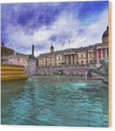 Trafalgar Square Fountain London 5 Art B Wood Print