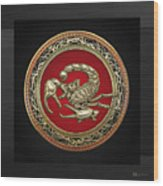 Treasure Trove - Sacred Golden Scorpion On Black Wood Print