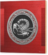 Treasure Trove - Sacred Silver Scorpion On Red Wood Print