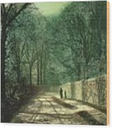 Tree Shadows In The Park Wall Wood Print