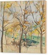Trees In The Bois De Boulogne Wood Print