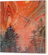 Trees On Red Marbled Paper Wood Print