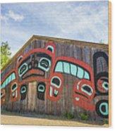Tribal Totem Pole In Ketchikan Alaska Wood Print