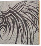 Tribal Wing Sketch Wood Print