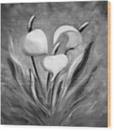 Tropical Flowers In Black And White Wood Print