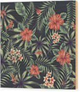 Tropical Leaf Pattern 5 Wood Print