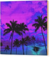 Tropical Palm Trees Silhouette Sunset Or Sunrise Wood Print