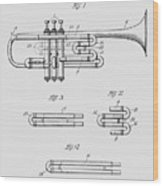 Trumpet Patent From 1919 Wood Print