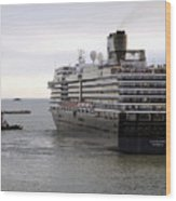 Tugboat Assisting Big Cruise Liner In Venice Italy Wood Print