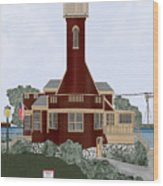 Turtle Rock Lighthouse Wood Print