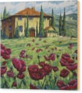 Tuscan Poppies Wood Print