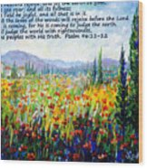 Tuscany Fields With Scripture Wood Print