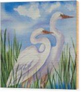 Twin Egrets Wood Print