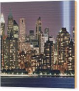Twin Towers Of Light Wood Print