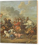 Two Battle Scenes Between Christians And Saracens Wood Print