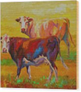 Two Cows Wood Print