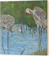 Two Cranes Wood Print