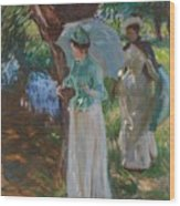 Two Girls With Parasols Wood Print
