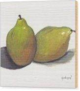 Two Green Pears Wood Print