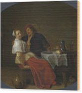 Two Lovers At Table Wood Print