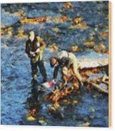 Two Men Fishing Wood Print