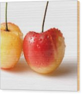 Two Rainier Cherries Wood Print by Blink Images