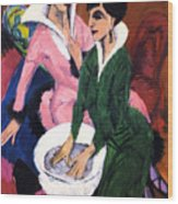 Two Women With A Washbasin Wood Print