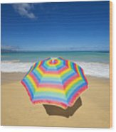 Umbrella On Beach Wood Print