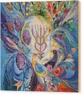 Under The Light Of Menorah Wood Print
