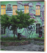 Underwater Graffiti On Studio At Metelkova City Autonomous Cultu Wood Print