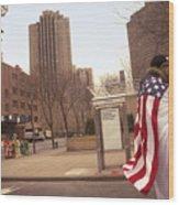 Urban Flag Man Wood Print
