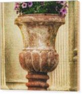 Urn With Purple Flowers Wood Print