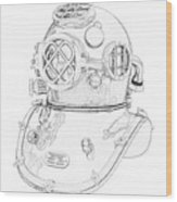 Us Navy Diving Helmet Mark V Wood Print