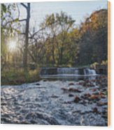Valley Creek Waterfall - Valley Forge Pa Wood Print