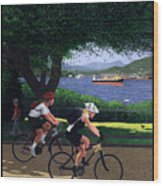 Vancouver Bike Ride Poster Wood Print