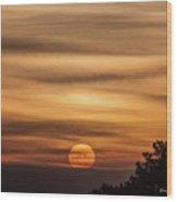 Veiled Sunrise Wood Print