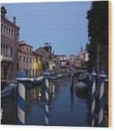 Venice At Night Wood Print
