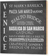 Venice Famous Landmarks Wood Print