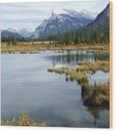 Vermillion Lakes Wood Print