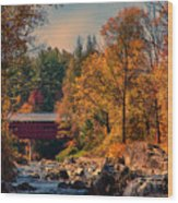 Vermont Covered Bridge Over The Dog River Wood Print
