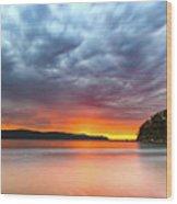 Vibrant Cloudy Sunrise Seascape Wood Print
