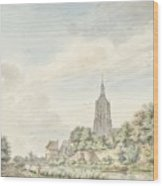 View Asperen With The City Walls And The Steeple Wood Print