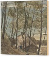 View From A Hill On A House On The Gulf Of Arcachon, August Allebe 1876 Wood Print