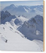 View From Summit Of Valluga, St Saint Anton Am Arlberg Austria Wood Print