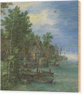 View Of A Village Along A River Wood Print